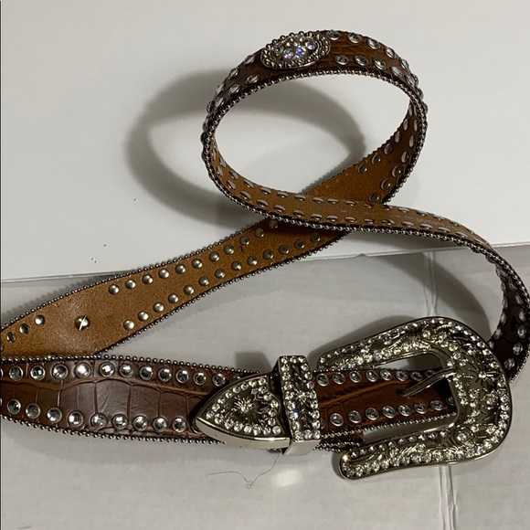 L Brown Blazin Roxx Womens Croc Print Large Crystals Rhinestones Belt